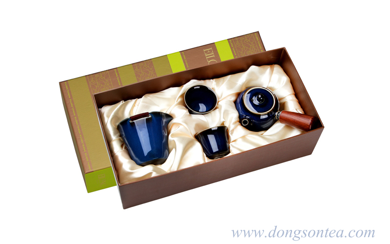 Fur of Hare Glaze Tea Ware Gift Set-Blue(4 PCS)